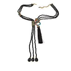 "Heidi Daus ""Mythical Mystique"" 3-Strand Beaded Double Drop Necklace"