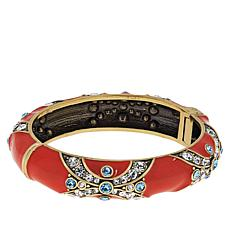 "Heidi Daus ""Newport Chic II"" Crystal and Enamel Hinged Bangle Braclet"