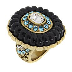 "Heidi Daus ""Posh Petals"" Crystal Carved Ring"