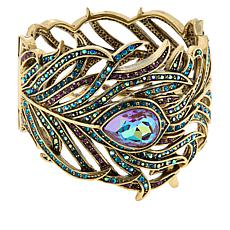 "Heidi Daus ""Pretty As a Peacock"" Crystal-Accented Hinged Bracelet"