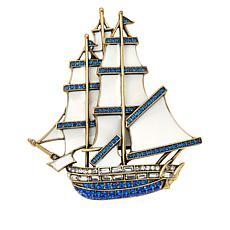 "Heidi Daus ""Royal Clipper Ship"" Crystal-Accented Enamel Pin"