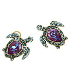 "Heidi Daus ""Sea Worthy Turtle"" Crystal Earrings"