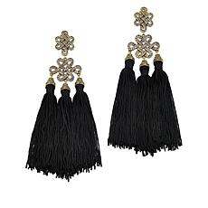 "Heidi Daus ""Shanghai Chic"" Crystal Tassel Drop Earrings"