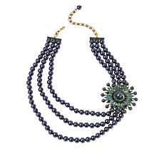 """Heidi Daus """"Sparkling Tradition"""" Crystal Triple-Strand Beaded Necklace"""