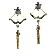 "Heidi Daus ""Take Aim"" Crystal Tassel Drop Earrings"