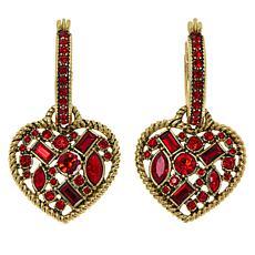 "Heidi Daus ""The Heart Line"" Crystal Dangle Earrings"