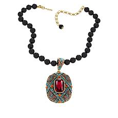 "Heidi Daus ""Triple Play"" Crystal Enhancer Pendant and Beaded Necklace"