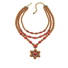 "Heidi Daus ""Triple Threat"" 3-Strand Drop Necklace"