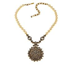 "Heidi Daus ""Unforgettable Lavaliere"" Beaded Locket Drop Necklace"