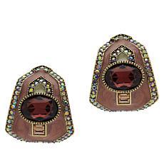 """Heidi Daus """"Well Connected"""" Crystal and Enamel Half Hoop Earrings"""