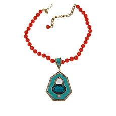 "Heidi Daus ""Well Connected"" Enhancer Pendant and 17"" Beaded Necklace"