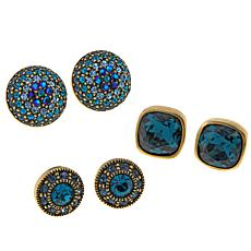 "Heidi Daus ""What a Stud II"" Set of 3 Crystal Earrings"