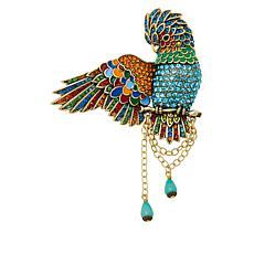 "Heidi Daus ""Winging It"" Crystal and Enamel Bird Pin"