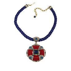 "Heidi Daus ""Yacht Club"" Crystal and Enamel Drop Cord Necklace"
