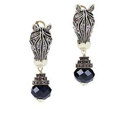 Heidi Daus Zebra Head Crystal Drop Earrings