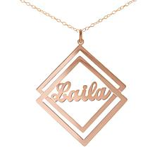 Heights Jewelers Personalized Diamond-Shaped Name Necklace - Plated