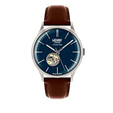 "Henry London ""Heritage Automatic"" Blue Dial Brown Leather Strap Watch"