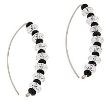 "Herkimer Mines  ""Diamond"" Quartz and Black Spinel Stiletto Earrings"
