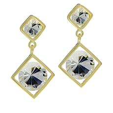 "Herkimer Mines ""Diamond"" Quartz Double Drop Round Earrings"