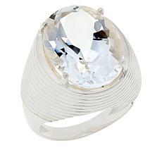 "Herkimer Mines ""Diamond"" Quartz Silvertone Oval Unisex Ring"