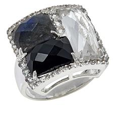 "Herkimer Mines Sterling Silver ""Diamond"" Quartz and Multi-Stone Ring"