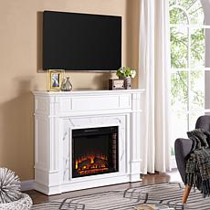 Highgate Faux Cararra Marble Media Electric Fireplace