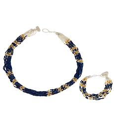 Himalayan Gems™ Blue and Goldtone Potay Necklace and Bracelet Set
