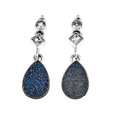 Himalayan Gems™ Blue Drusy and Blue Topaz Drop Earrings