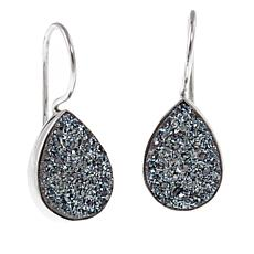 Himalayan Gems™ Caribbean Blue Drusy Pear-Shaped Drop Earrings