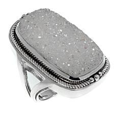 Himalayan Gems™ Rectangular White Drusy Sterling Silver Ring