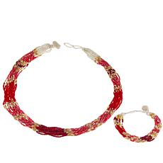 Himalayan Gems™ Red & 2-Tone Multistrand Potay  Necklace and Bracelet