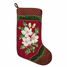 Holiday Snowrose Needlepoint  Stocking