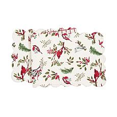 Holly Sprig Birds Table Runner