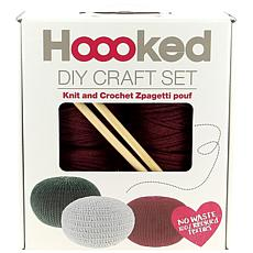 Hoooked Knit and Crochet Pouf Kit with Zpagetti Yarn-Burgundy Passion