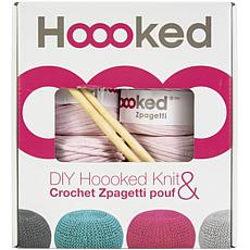 Hoooked Knit and Crochet Pouf Kit with Zpagetti Yarn - Cherry Blossom