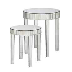 Houston 2-piece Round Mirrored Nesting Table Set