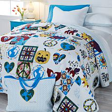 HSN Cares Patchwork 4pc 100% Cotton Quilt Set w/Tote
