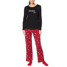 HUE 2-piece Pajama Set with Fuzzy Socks - Missy