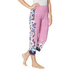 HUE Seaflower Print Classic Pajama Capri Pant