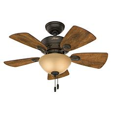 "Hunter 34"" Watson New Bronze Ceiling Fan w Light Kit and Pull Chain"