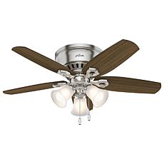 "Hunter 42"" Builder Low Profile Ceiling Fan with  Lights -  Nickel"