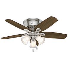 "Hunter 42"" Builder Low Profile Ceiling Fan with  Lights -  Nickel"