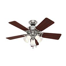 "Hunter 42"" Southern Breeze Nickel Ceiling Fan w LED Light Kit & Chain"