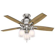 "Hunter 44"" Donegan Nickel Ceiling Fan w LED Light Kit and Pull Chain"