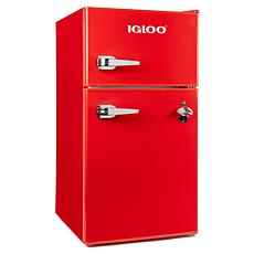 Igloo 3.2 Cu. Ft. Classic Compact Double Door Fridge & Freezer, Red