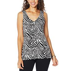 IMAN Boho Chic Reversible Button-Front Tank