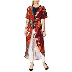 IMAN City Chic Printed Empire-Waist Duster