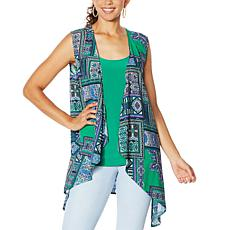 IMAN City Chic Scarf Vest with Tank