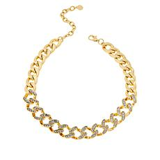 "IMAN Global Chic 16-1/2"" Goldtone Crystal Curb-Link Necklace"