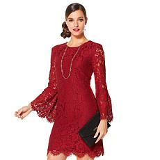 IMAN Global Chic Bell-Sleeve Lace Dress